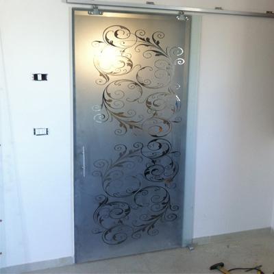 נפלאות דלת הזזה מזכוכית חלבית בשילוב דוגמה | אגם עיצובים NN-16