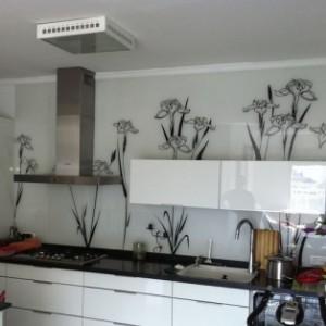 חיפוי קיר זכוכית מודפסת למטבח